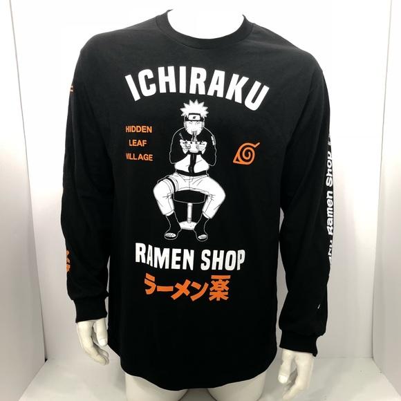 Naruto Shippuden Ichiraku Ramen Shop Hidden Leaf Village Men's Black L//S Shirt
